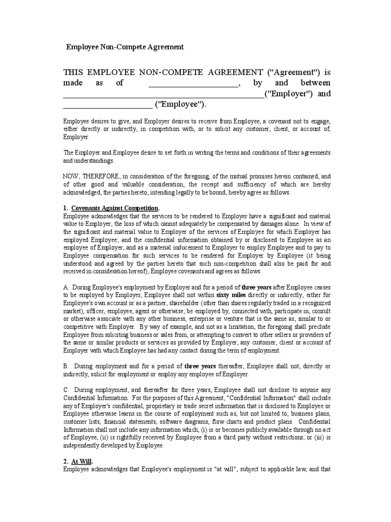 non compete agreement template templates in pdf word employee non compete agreement form