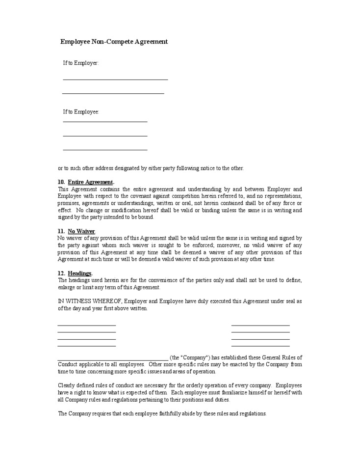 Employee Non Compete Agreement Form Free Download