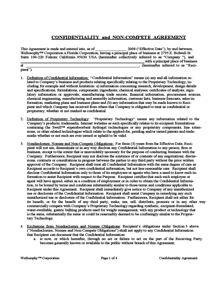 Confidentiality And Non Compete Agreement Template Free Download