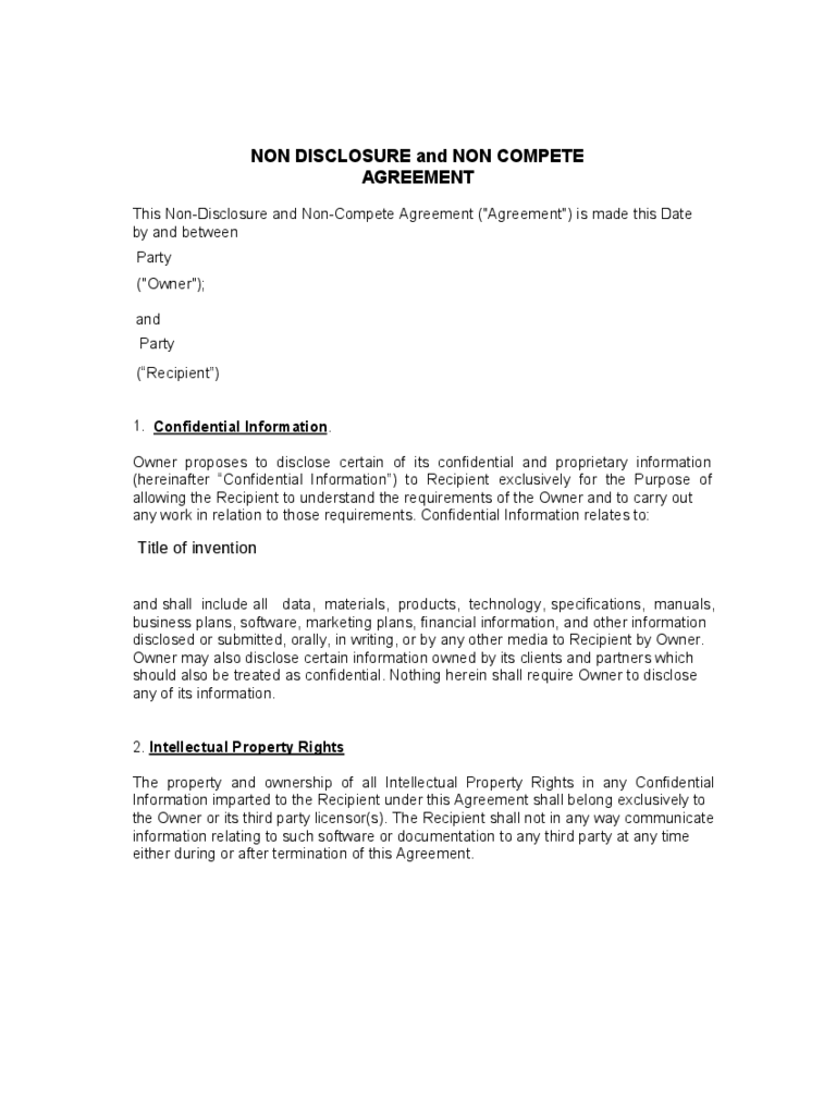 non compete agreement template templates in pdf word non disclosure and non compete agreement