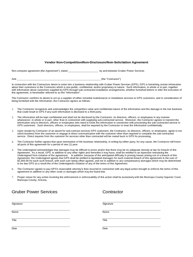 Non-Compete Agreement Sample