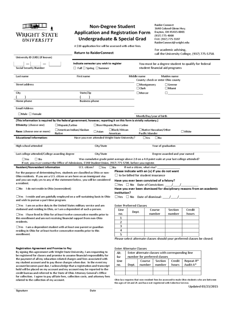 Non-Degree Student Application and Registration Form - Wright State University