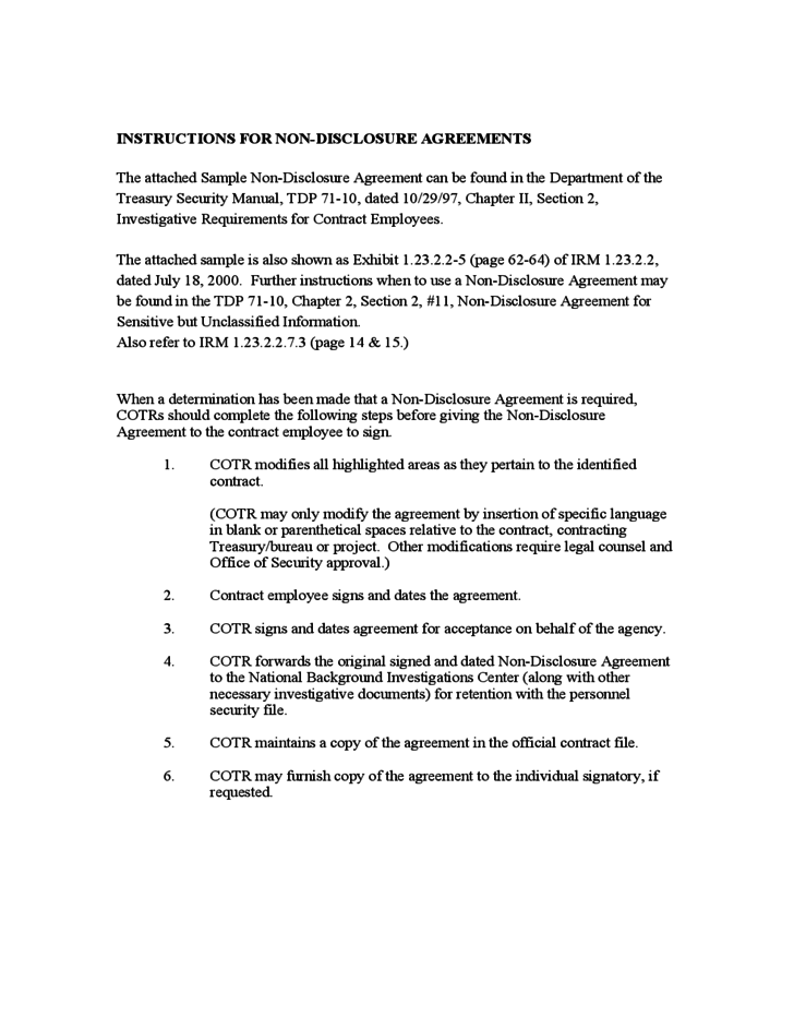 Instructions For Non Disclosure Agreement Free Download