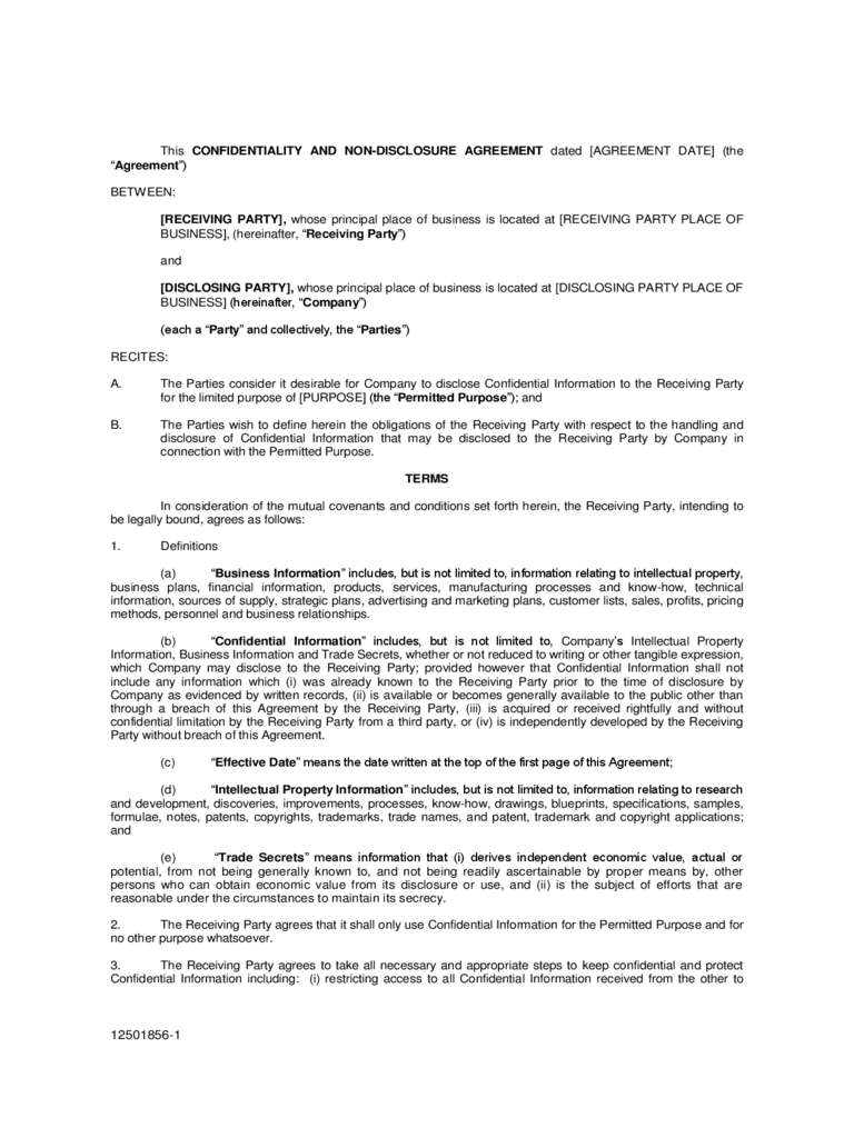 Non Disclosure Agreement Form 4 Free Templates In Pdf Word Excel