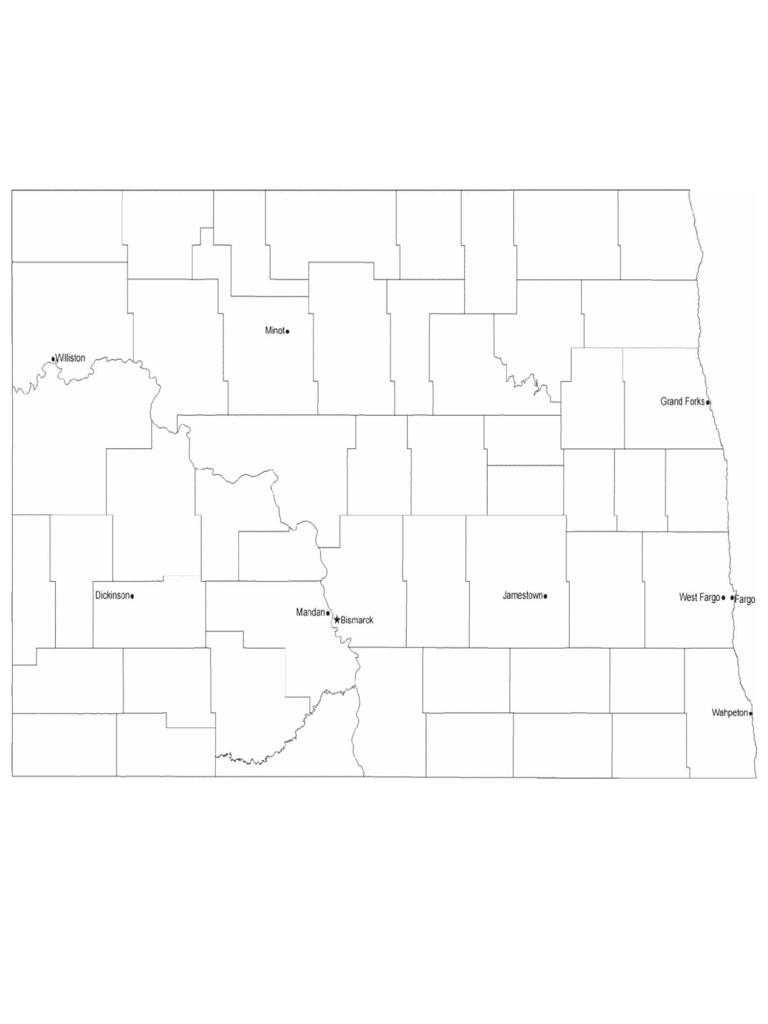 Map of North Dakota Cities with City Names