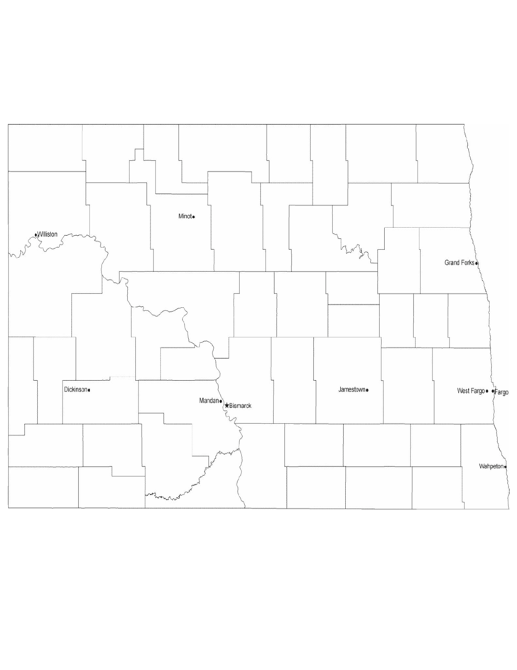 Map of North Dakota Cities with City Names Free Download