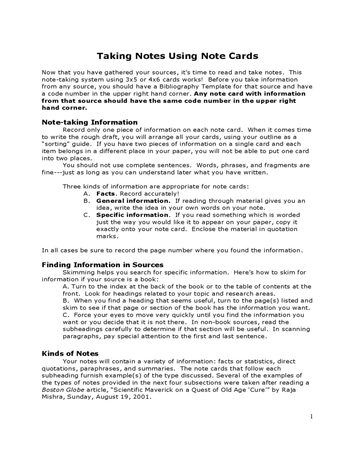 Note Taking Card Template