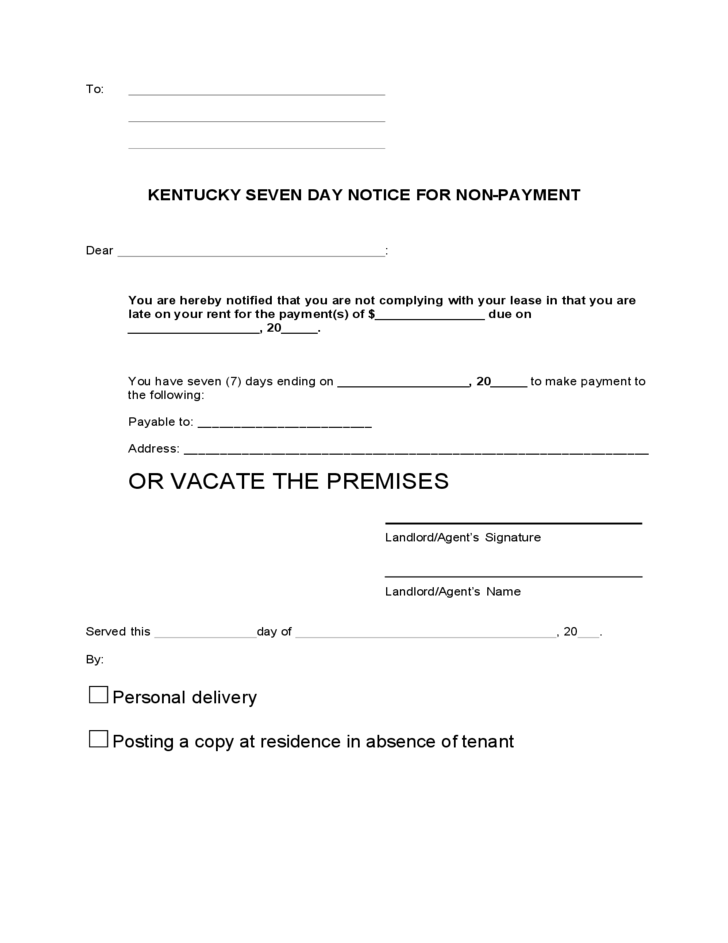 Kentucky 7 Day Notice to Quit for Non-Payment of Rent Free Download