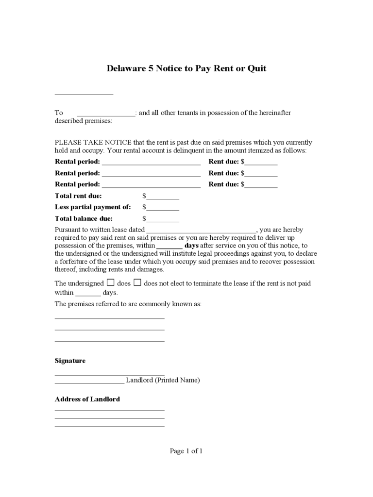 Delaware 5 Notice to Pay Rent or Quit
