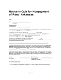 Arkansas 10 Day Notice to Quit for Nonpayment of Rent