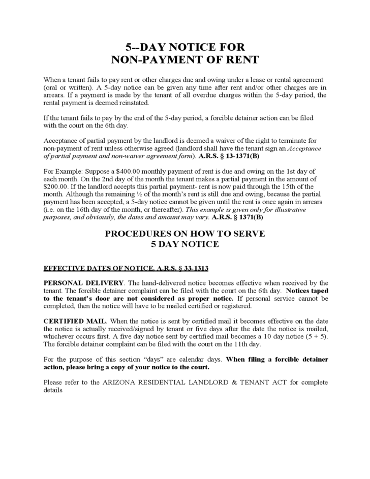 Arizona Five Day Notice for Non-Payment of Rent Free Download