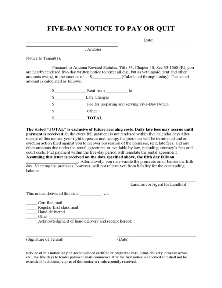 notice to pay rent or quit template - arizona five day notice for non payment of rent free download