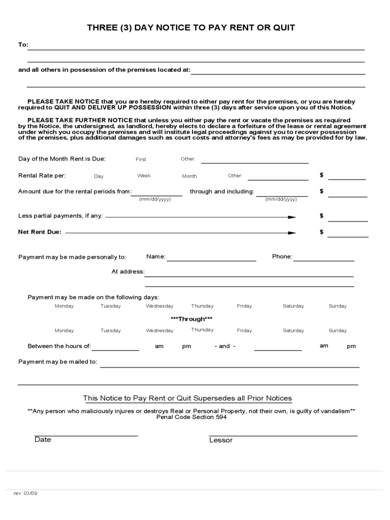 California rent and lease template free templates in pdf for Notice to pay rent or quit template