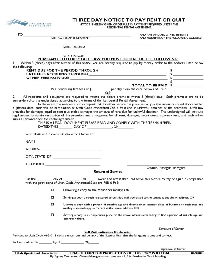 utah three day notice to quit for nonpayment of rent free download