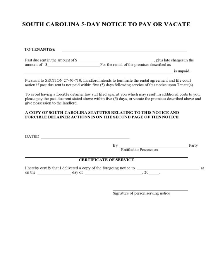 South carolina 5 day notice to pay or vacate free download for Notice to pay rent or quit template