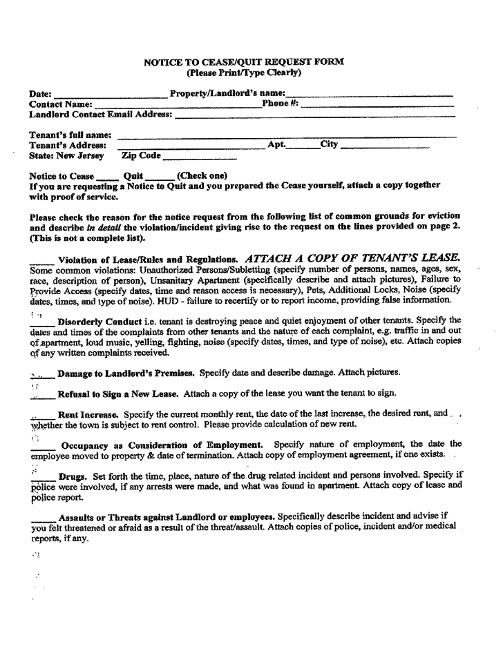 new jersey notice to cease  quit request form free download