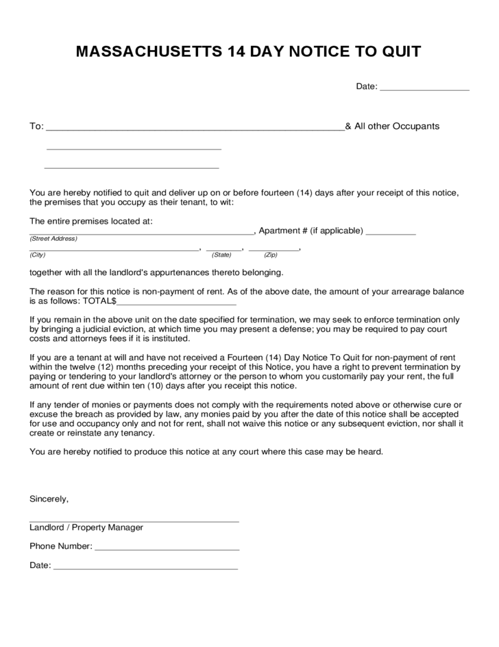 massachusetts 14 day notice to quit form free download