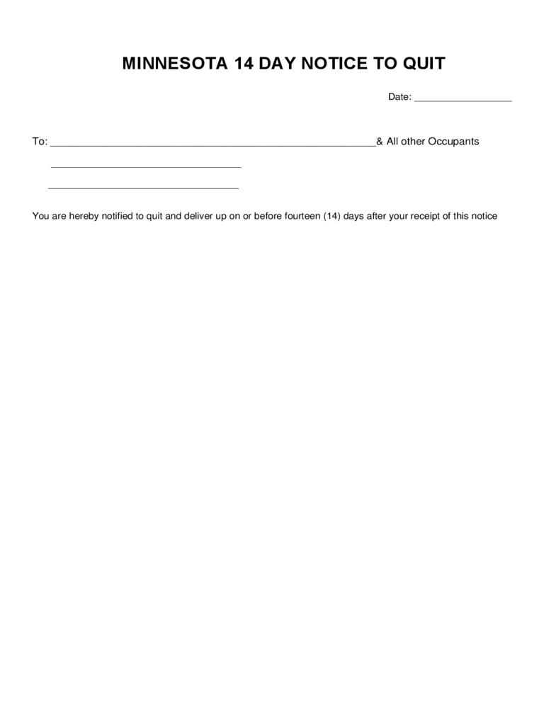 Minnesota 14 Day Notice to Quit Form