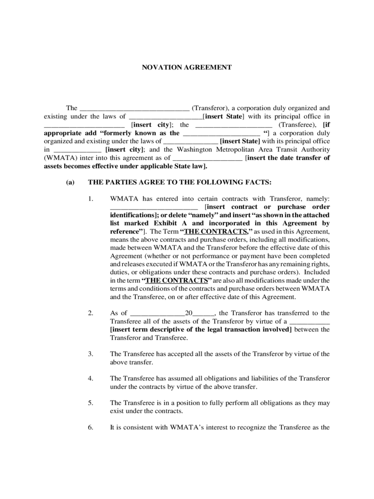 Novation Agreement Template 6 Free Templates In PDF