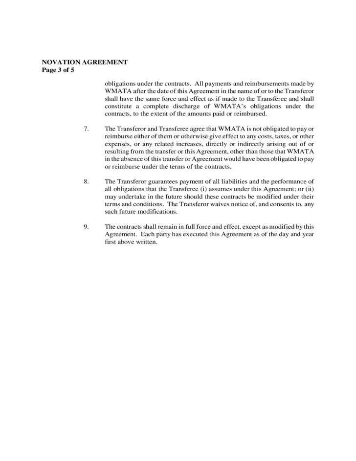 Novation Agreement Template | Novation Agreement Teacheng Us
