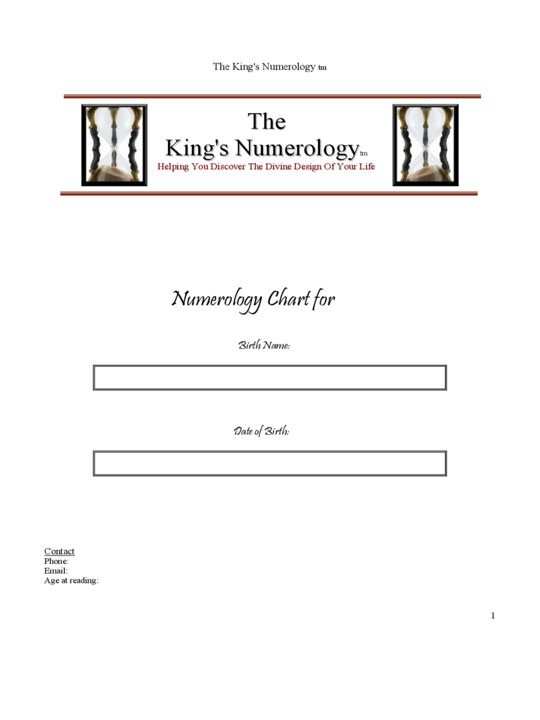 The King's Numerology Chart