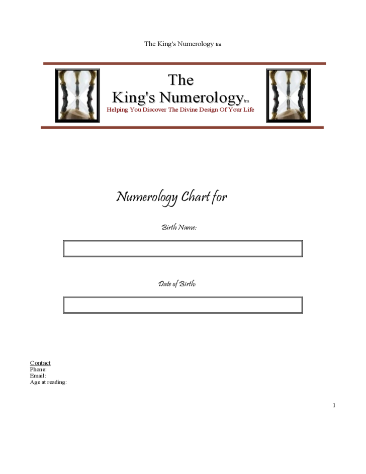 The Kings Numerology Chart Free Download – Numerology Chart Template