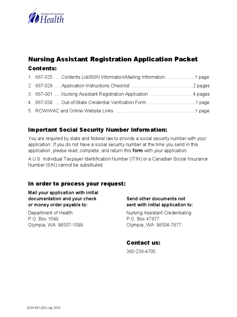 Nursing Assistant Registration Application Packet - Washington