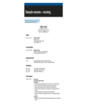 Sample Resume - Nursing Free Download