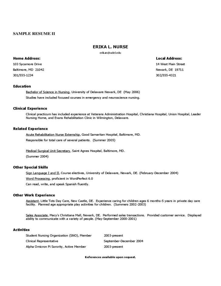 Registered Nurse Resume Sample Free Download