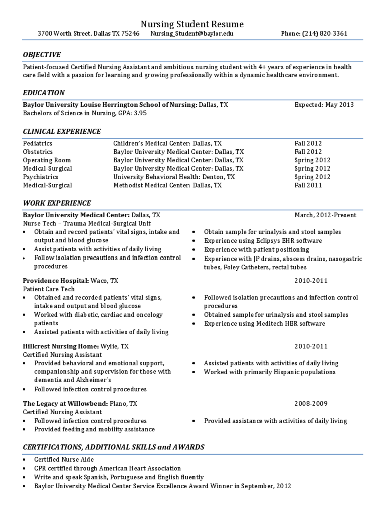 Nursing Student Resume   Baylor University  Free Nursing Resume Templates