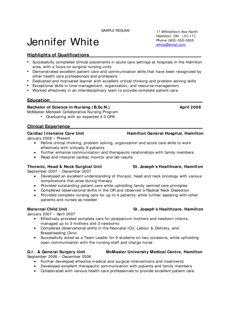 Sample Resume For Nursing Students  Nurse Resume Template Free