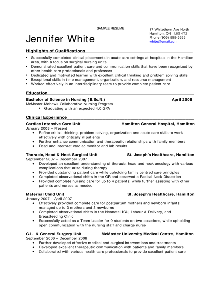 free nursing resume templates - sample resume for nursing students free download