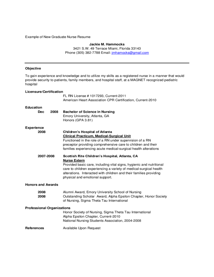 Free Rn Resume Examples  Sample Graduate Nurse Resume