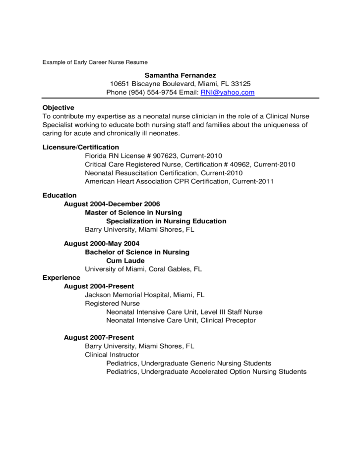 2 example of new graduate nurse resume