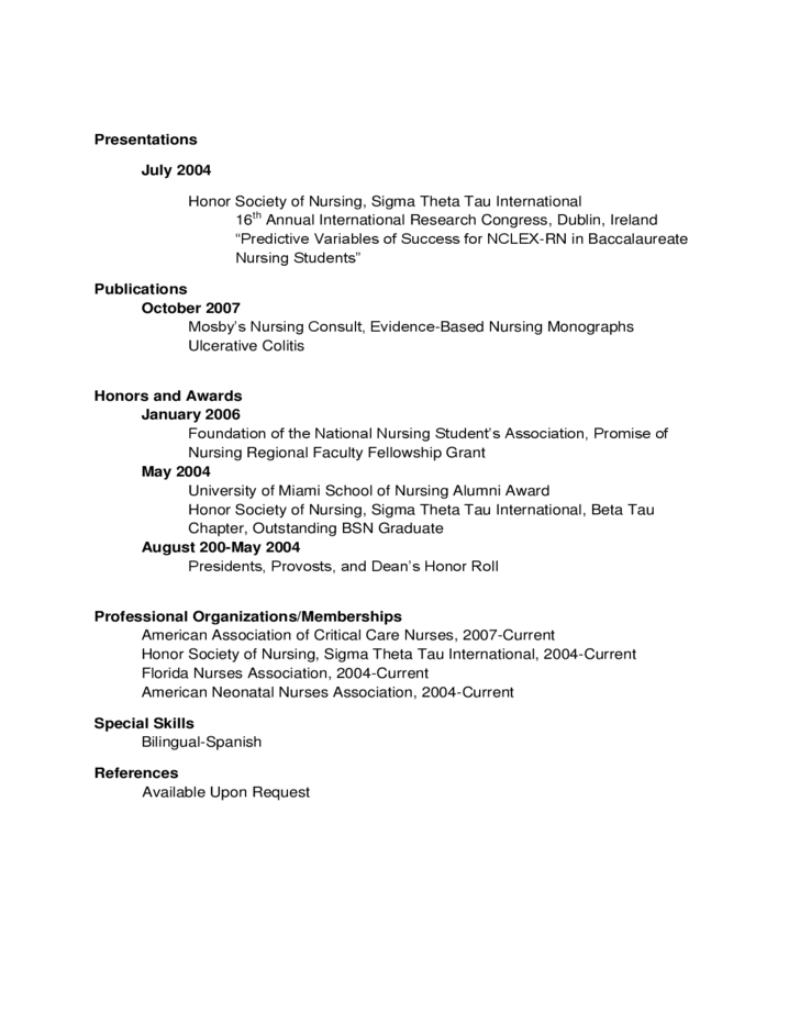 example of new graduate nurse resume free download