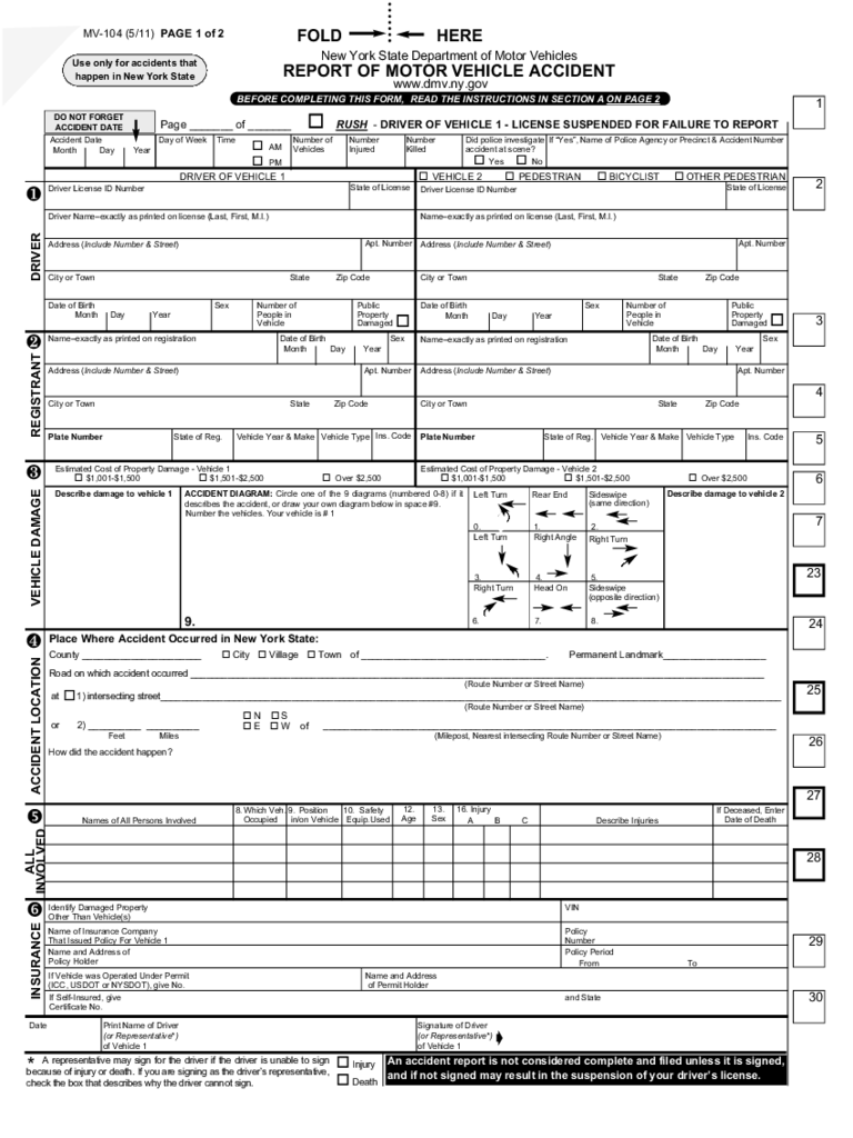 Form MV-104 - Report of Motor Vehicle Accident - New York Free Download