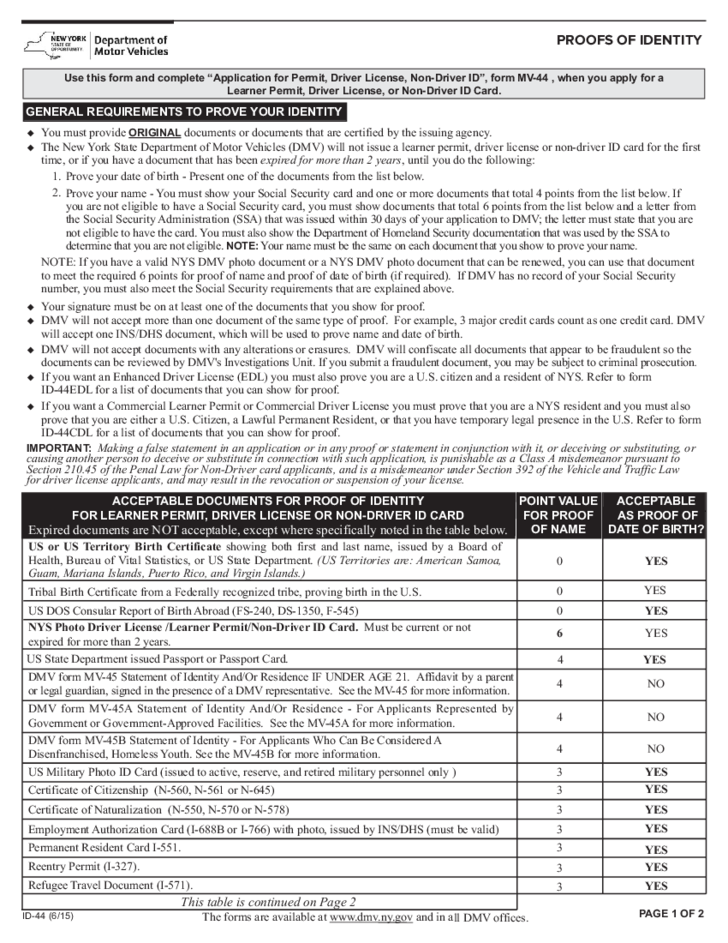 California Motor Vehicle Department Form DL-44