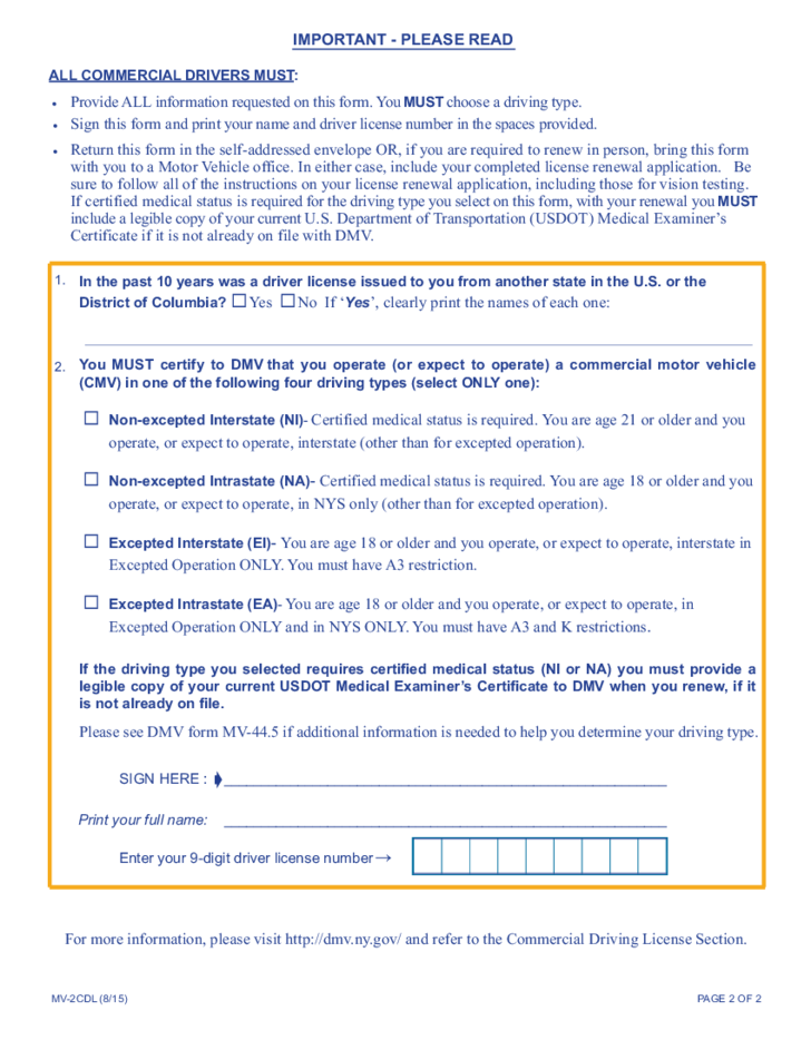 Form mv 2cdl requirements for commercial drivers new for Dmv documents needed