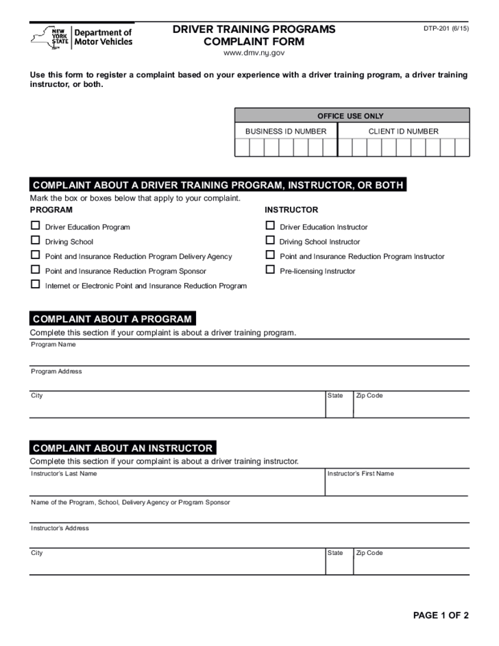 Form DTP201  Driver Training Programs Complaint Form