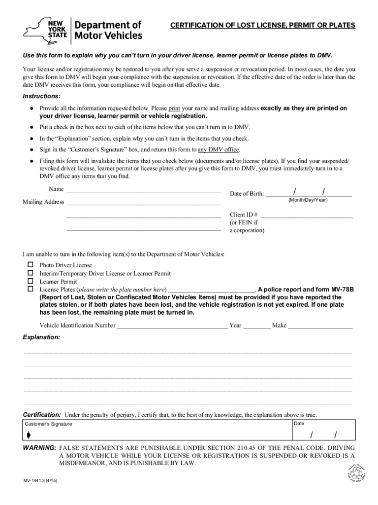 Form MV-1441.3 - Certification of Lost License, Permit or Plates - New York