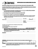 Form MV-1441.3 - Certification of Lost License, Permit or Plates - New York Free Download