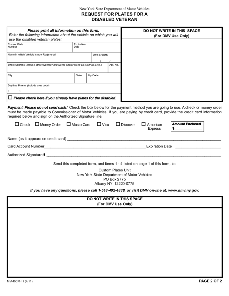 Form MV-400PH.1 - Request for Plates for a Disabled Veteran - New ...