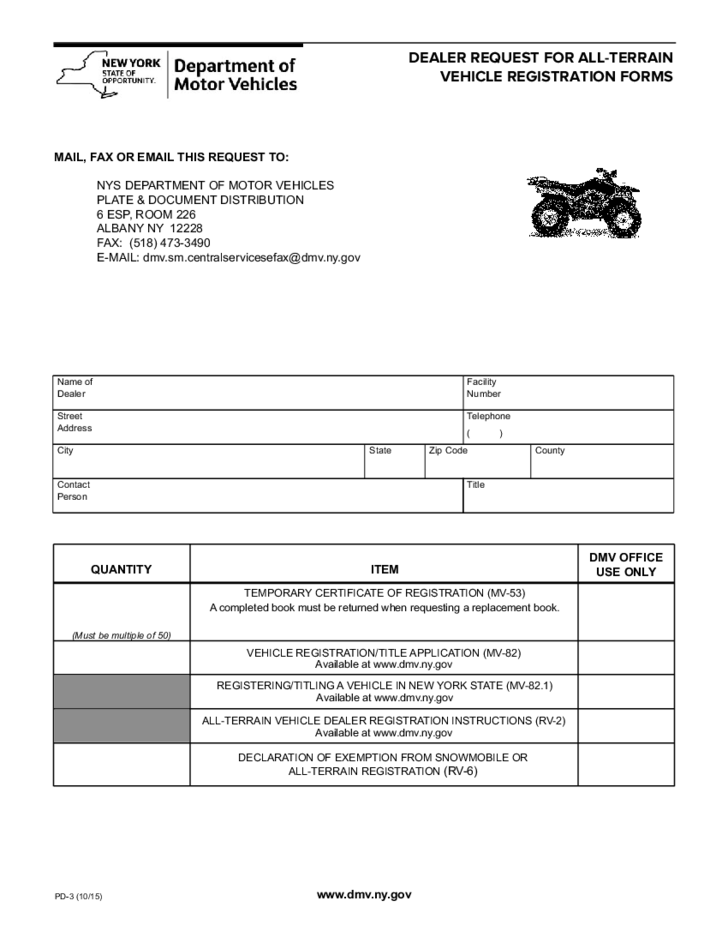 Form PD-3 - All-Terrain Vehicle Registration Form - New York Free ...