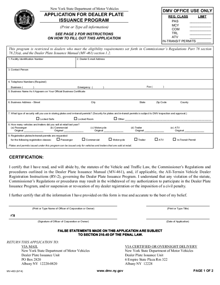 Form mv 463 application for dealer plate issuance for New york state department of motor vehicles phone number