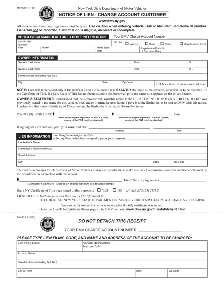 form mv 900 1 notice of lien charge account customer new york free download