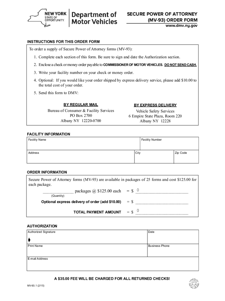 Form MV-931 - Secure Power of Attorney Order Form - New York