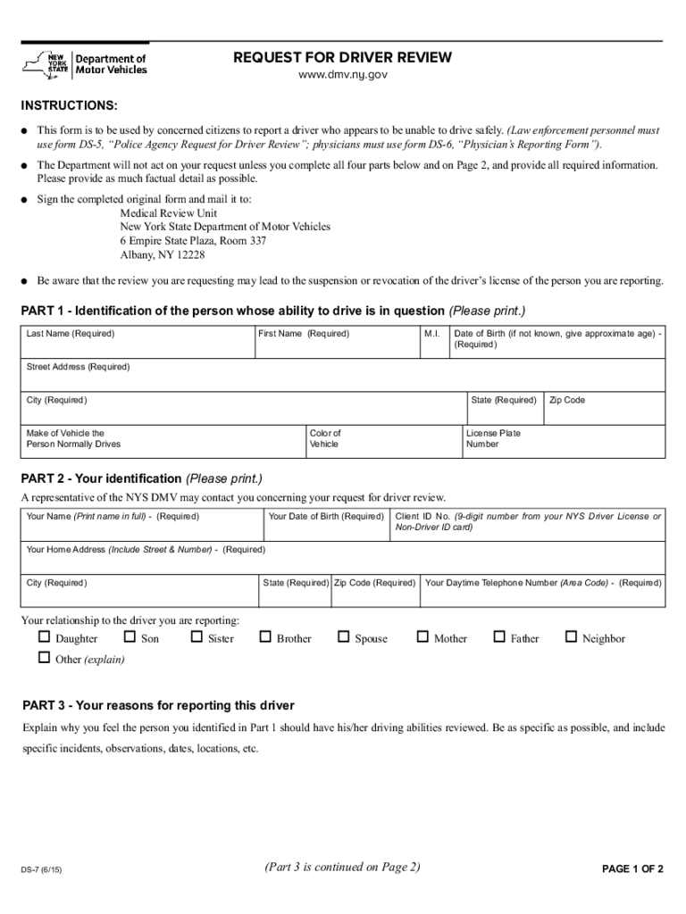 Form DS-7 - Request for Driver Review - New York