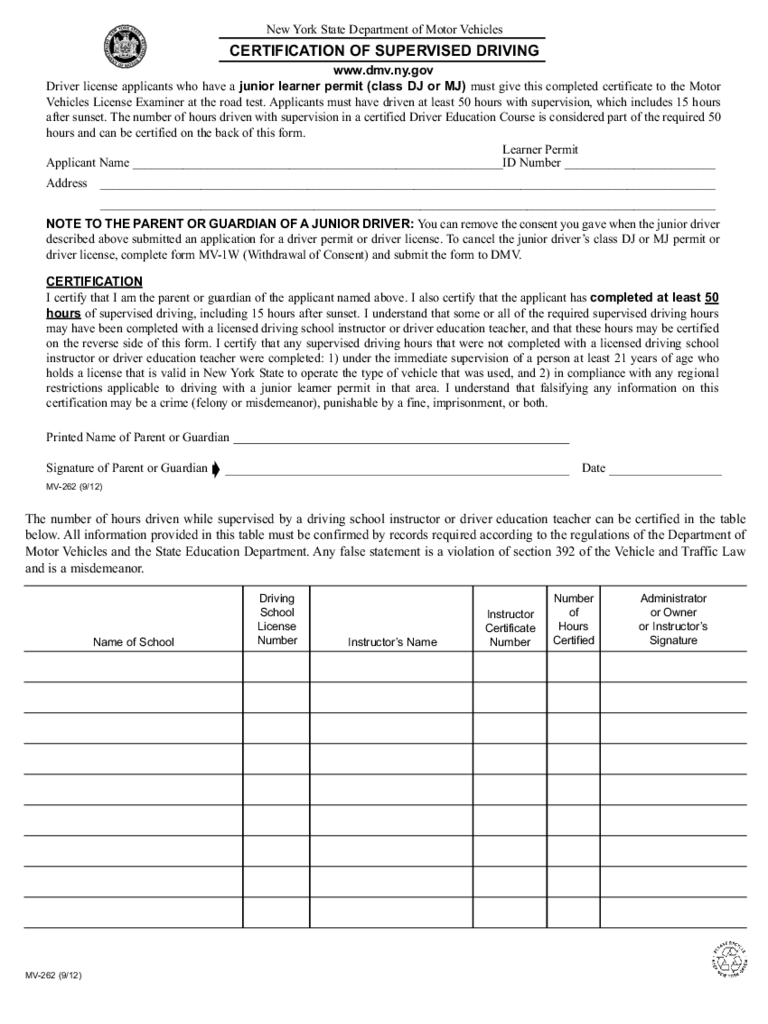 Form MV-262 - Certification of Supervised Driving - New York