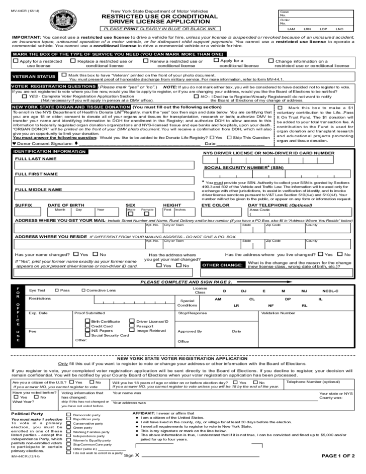 Form mv 44cr restricted use or conditional driver for New york state department of motor vehicles phone number