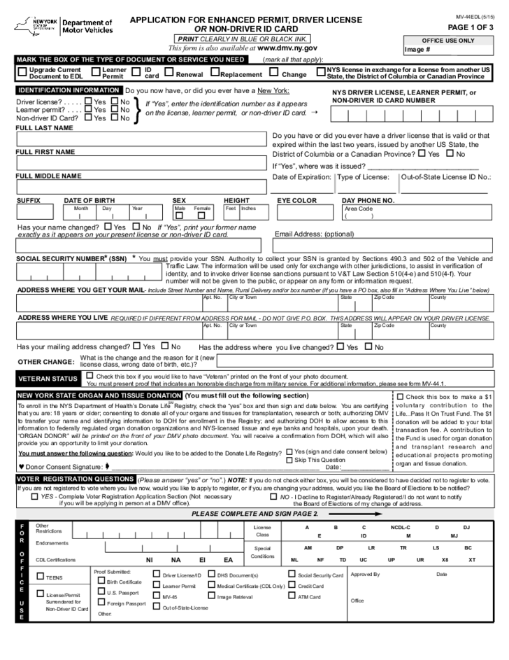 Form Mv 44edl Application For Enhanced Permit Driver